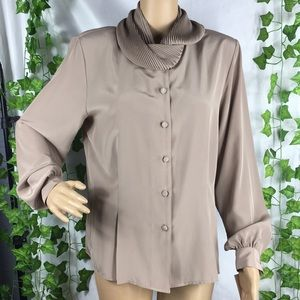 Vintage tan button up blouse with pleated collar